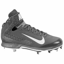 $110 Mens Nike Air Huarache Pro Mid Metal Baseball Cleats GRAY WHITE - sz 13