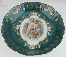 Antique Bowl Mythology Scene Gods & Cherubs Green Gold Dogwood Flowers