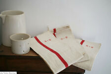 Antique French 3 MATCHING linen KITCHEN CLOTH red liteaux UNUSED B.B m c1880