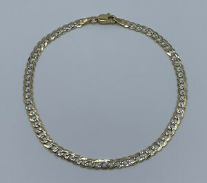 10k Yellow And White Gold Solid Mens 8 Inch Cuban Link Bracelet. NEW Item!!