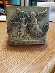 Vintage Porcelain White Angel Tissue Box