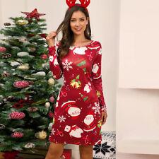 Women Christmas Santa Printed Swing Dresses Xmas Party Mini Dress Skirt Skater