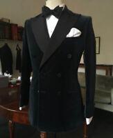 2020 Men Velvet Jacket Coat Blazers Designer Black Double Breasted Tuxedo Dinner