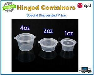 Round Food Containers Plastic Clear Storage Hinged Lid Pots Sauce 1oz  2oz  4oz