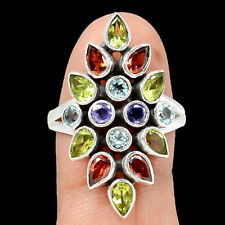 Garnet, Blue Topaz, Peridot & Iolite 925 Silver Ring Jewelry s.8 RR97182