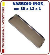 VASSOIO ACCIAIO INOX RETTANGOLARE cm 39x13x1 GASTRONOMIA MACELLERIA PASTICCERIA