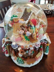 "9"" Vintage Kirkland Musical Revolving Base Snow Globe Gingerbread House No Box"