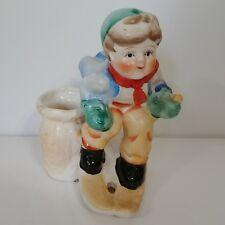 Vntg Match Holder Figurine Boy Skier Japan Ceramic Blue Brown Basket