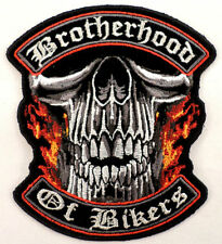 Brotherhood Of Bikers Patch Skull Motorcycle Uniform Patch
