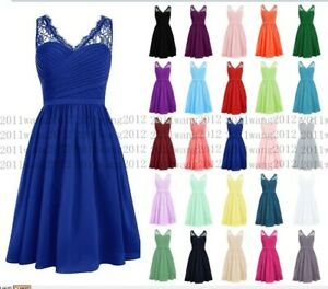 Formal Short Lace Chiffon Prom Party Cocktail Gown Evening Bridesmaid Dress 6-24