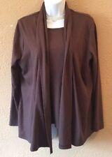Women's L.L. Bean Large Two-Piece Fall Top Brown Shirt Blouse