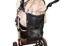 Net Storage Bag with Clips for Prams, Buggies and Strollers (One Size) (Black)
