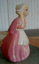 "ANTIQUE DUTCH GIRL FIGURINE, PINK DRESS, 5"" BY 2 3/4"" INCHES ROUND, OLD CONDITIO"