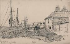 GEORGE CHARLES HAITE Victorian Drawing 1899 WELLS-NEXT-THE-SEA TIMBER ON COAST