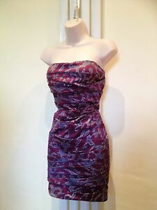 LIPSY Stunning Sexy Purple Silver Strapless Dress Size 12 Excellent Con