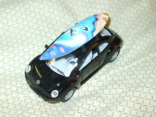 "Kinsmart Black Pullback VW Bug w/detachable surfboard Mint no box 5"" x 2 .25"""