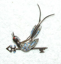 UNIQUE VICTORIAN SIGNED STERLING LONG TAIL EXOTIC BIRD ON ARROW KEY RHINESTONES