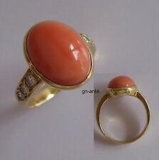 2 - Exquisiter Ring - Gold 750 - Koralle - Brillanten -369-