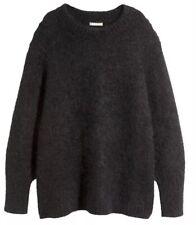 New H&M HMWomen's Mohair Sweater Dress Charcoal Black Sweater