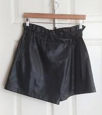Zara Black Faux Leather Foldover Mini Skort Skirt Short Elastic Tie Waist Medium