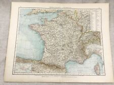 1899 Antique Map of France French Territory Old Original 19th Century GERMAN