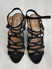ceb84af2a2cf ELIE TAHARI Black Suede Strapy Sandals High Wedge Heel