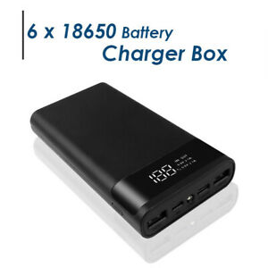 POWER BANK Case 6*18650 Battery Charger Dual USB/Micro/Type-C With Display