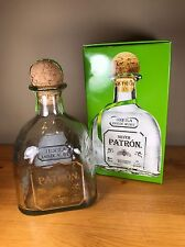 Patron Silver Tequila Empty Bottle With Box Cork Backbar Bar Decor