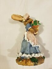 """Easter Female Bunny Rabbit Collectible Figurine Ceramic Spring Decoration 6"""""""