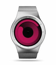 ZIIIRO Chrome / Magenta Stainless Steel Mesh Unisex Water Resistant Watch
