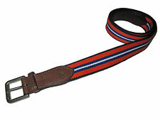 Polo Ralph Lauren Orange Blue Rugby Stripe Brown Leather Collegiate Belt 36