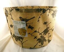 Multipurpose toile jute basket tan black bird design storage garden