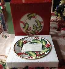 "New 8"" Fitz & Floyd Noel Classique Holly Hanging Porcelain Wall or Shelf Plate"