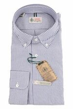 Luigi Borrelli Luxury Vintage Cotton 18/45 Button-Down Shirt Blue & White Pencil