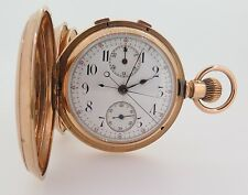 .HIGH GRADE POITEVIN & CO 18K ROSE GOLD SPLIT SECOND CHRONOGRAPH POCKET WATCH