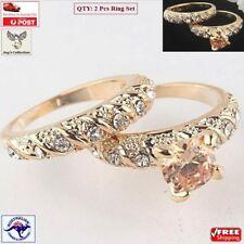 Fashion 2 Pcs Gold Plated Round Wedding Engagement Ring Set Women [A7Q~B33]