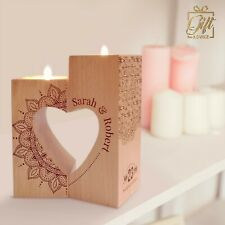 Wooden Tea Candle Holder Personalised Engraved Customized Gift Valentine's Day