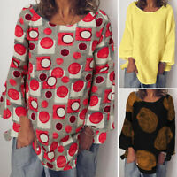 ZANZEA UK Womens Long Sleeve Printed Cotton Tops Casual Loose Tee T Shirt Blouse