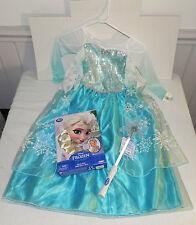 NWT Disney PARKS FROZEN ELSA Dress Costume 5-6 S Braid Wig & Snowflake Glow Wand