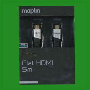 Flat HDMI Pro 5m v2.0 Cable Gold-plated HDTV UltraHD 1080p 4K2K 3D Ex-Maplin