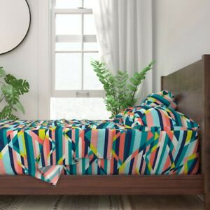 Stripes Geometric Triangles Navy Lime 100% Cotton Sateen Sheet Set by Roostery