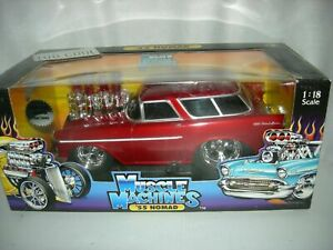 NOMAD 1955 BLOWN '55 NOMAD 1/18 1:18 MUSCLE MACHINES DIECAST CAR RED