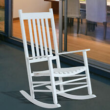 Porch Rocking Chair Classic Wood Rocker Leisure Seat White