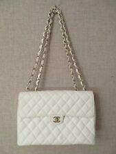 Chanel Jumbo White Caviar Leather Classic Single Flap Bag Jumbo Authentic Mint