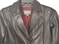 WILSONS LEATHER Womens Black Soft Leather Jacket Size XS Unique Burgundy Lined