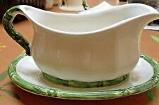 ROYAL WINTON IRONSTONE Sauce /Gravy Boat + Under Plate Bamboo