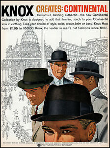 1960 Knox Continental Hat collection four new models retro art print ad adl83