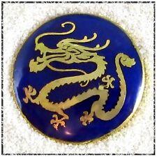 "Vintage Enamel Dragon Button - Gold on Dark Blue, 3/4"""