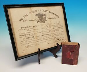 Original Civil War Union Named Bible 9th Iowa Infantry Northern Army Discharge