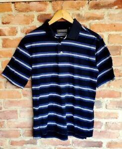 Daniel Cremieux Polo Shirt Blue Striped Short Sleeve Size S